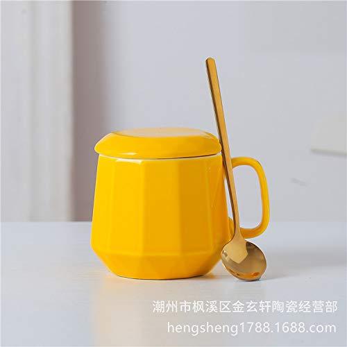 Xiaobing Taza de café Simple Creativa Taza de Personalidad de Diamante Taza de Desayuno en casa Taza de Agua de cerámica -C286-301-400ml