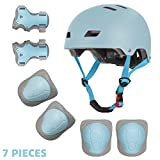 Kids Bike Helmet Knee Elbow Wrist Pads 3-8 Years Toddler to Youth for Bike Skateboarding Roller Blading Scooter Riding Bicycling Roller Skating and More (Light Blue, S)