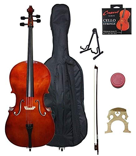 Crescent 4/4 Beginner Cello Starter Kit - Natural Wood Color (Bag, Bow, Accessories & STAND)