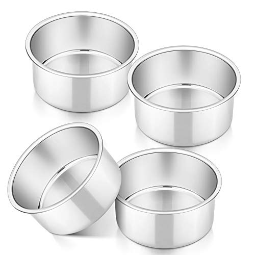 4 Inch Small Cake Pan Set of 4, P&P CHEF Stainless Steel Baking Round Cake Pans Tins Bakeware for Mini Cake Pizza, Quiche, Non Toxic & Healthy, Leakproof & Easy Clean, Mirror Finish & Easy Releasing