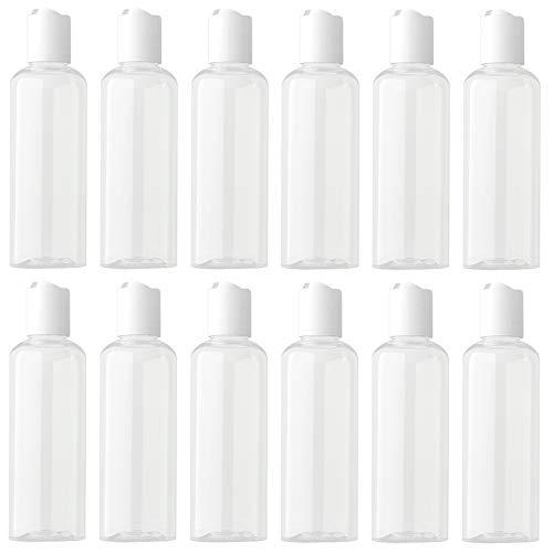 Hnmedia 12 Stks 100 ml een Set Travel Disc Top Cap Reizen Containers, Plastic Flessen, Navulbare Containers, Toiletflessen, Cosmetische flessen voor Lotion, Serum, Crème