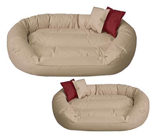 BedDog® Hundebett Sunny, großes Hundekörbchen aus Cordura, waschbares Hundebett mit Rand, Hundekissen oval-rund, für drinnen und draußen, XL, NAMIB-Sand, beige