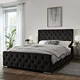 Beautiful Look Alton Upholstered Diamante Bed Frame Single/Double/King Size in Soft Plush Fabric (4ft6 Double, Duck Egg Plush Fabric)