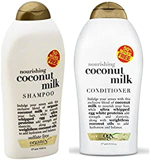 Organix Ever Nourishing Coconut Milk 19.5 Fl Ounces Each (Shampoo and Conditioner Set)