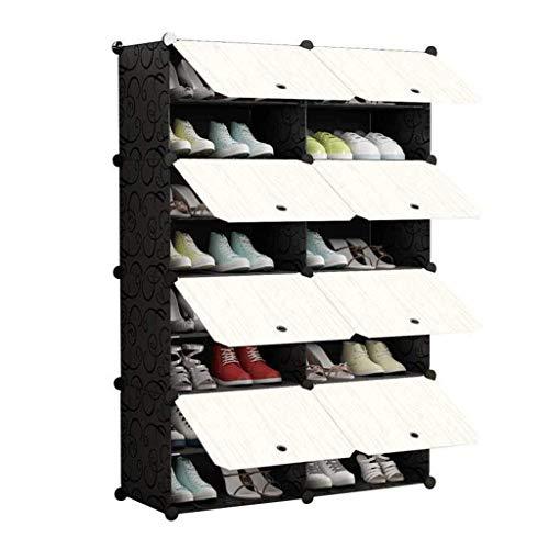 HyiFMY Zapatero, Zapatos a Prueba de Polvo Gabinete de Zapatos Mueble de Montaje Multi Capa Locker Plástico Imitación para el hogar Intervalo de Ahorro de Aire Rack, 85 x 31 x 127 cm