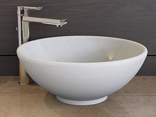 Aqua Bagno | Design Waschbecken Rund | Keramik Aufsatzwaschbecken | Handwaschbecken | Gäste-WC geeignet | Rund | 40 cm | Weiß | KR-40-1