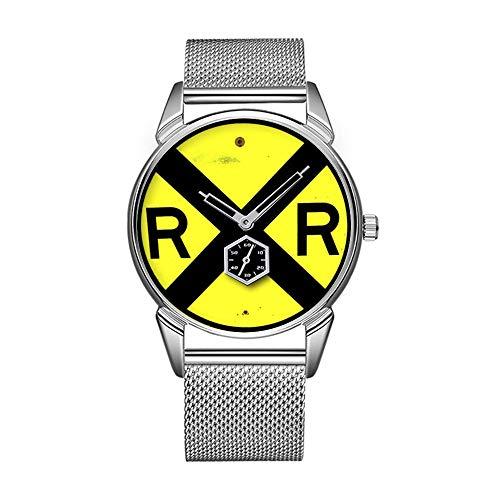 Mode wasserdicht Uhr minimalistischen Persönlichkeit Muster Uhr -727. BahnÜbergangs Schild