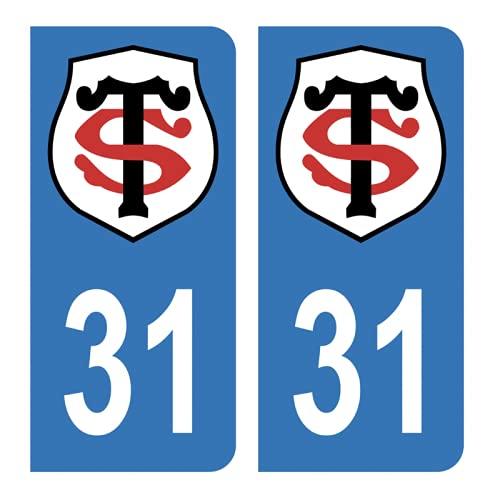 Hadexia Aufkleber für Nummernschild, Auto, 31 Club Stade Toulousain Rugby, Blau
