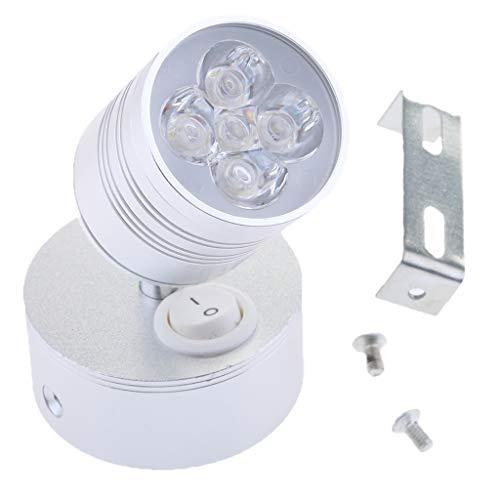 Toygogo 5W 12V LED Spot Interruptor de Luz de Lectura Camper Van Marine - Plata Shell Cool blanco LED