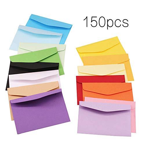 150 Piezas 11 * 8 CM Mini Sobres Adorables Bonitos Multicolor Sobres para Tarjeta de Regalo Materiales Fiesta Boda Cumpleaños (15 Colores)