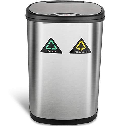 Amagabeli Automatischer Abfalleimer Mülleimer Bewegungssensor 50L Edelstahl Abfallbehälter Kücheneimer Mülltrennsysteme Infrarot Küchenabfälle berührungslos Abfall/Müll Behälter Müllbehälter für Küche