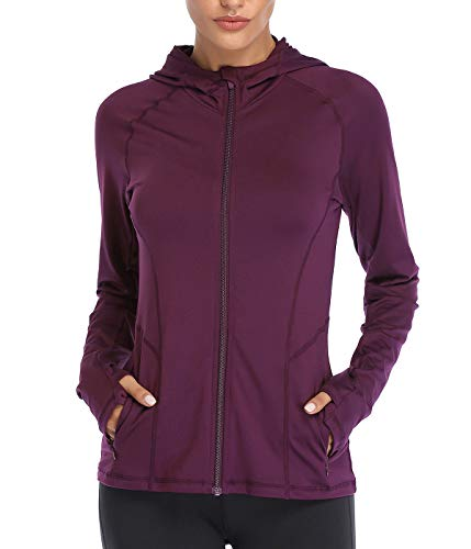 VUTRU Women's Full Zip Up Workout Hoodie Athletic Running Track Jacket