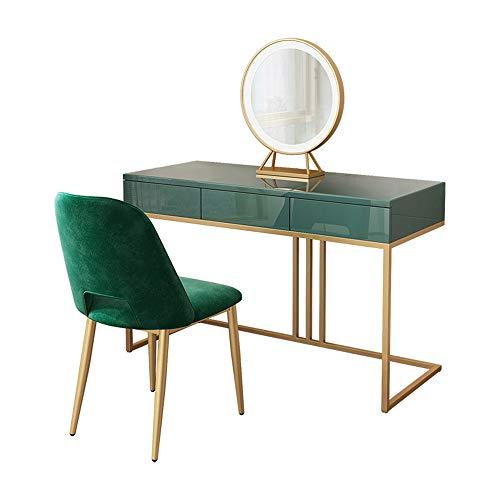Table de Maquillage avec Miroir Vanity Set avec Miroir et molletonné Tabouret Coiffeuse (Couleur, Taille : 120x40x75cm)