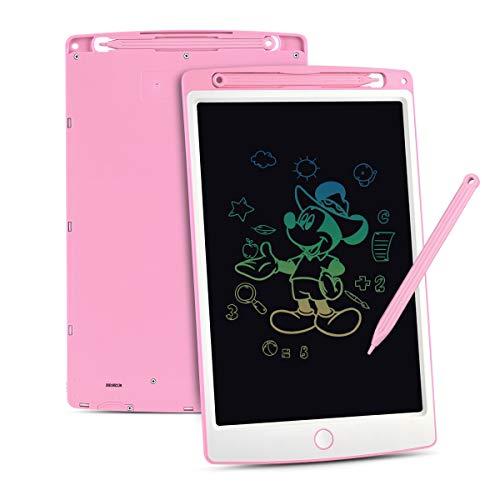 Upgrow LCD Writing Tablet, 10 Zoll LCD-Schreibtafeln mit Bunter Schrift, Grafiktabletts Schreibplatte Digital Schreibtafel Papierlos Maltafel für Kinder Schule Graffitik Malen Notizen (Rosa+Weiß)