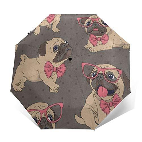 Compact Umbrella Cartoon Tan Pug Puppy In Glasses Coral Bow-Tie Auto Open Close Travel Sun Golf Folding Umbrellas Windproof Lightweight For Women Men Kids Girls Parasol With Black Anti-Uv Coating