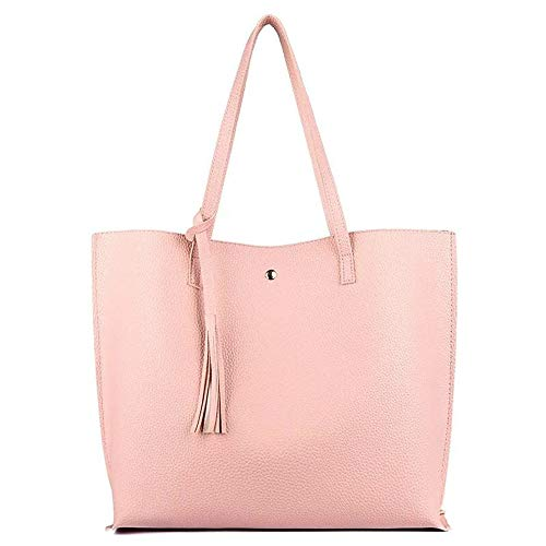 Women's Soft Leather Tote Shoulder Bag from Kbiter, Big Capacity Tassel Handbag Women Large (Pink)