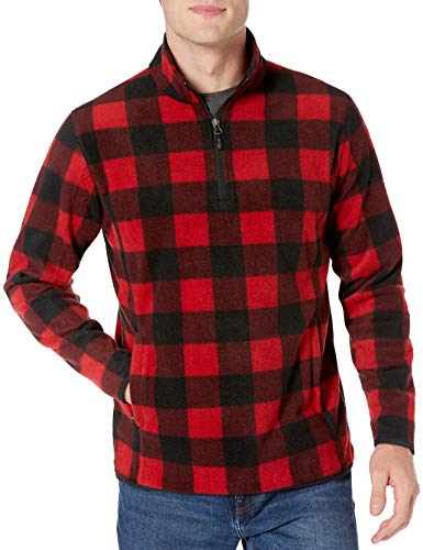 Amazon Essentials Men's Quarter-Zip Polar Fleece Jacket, Red Buffalo, Medium