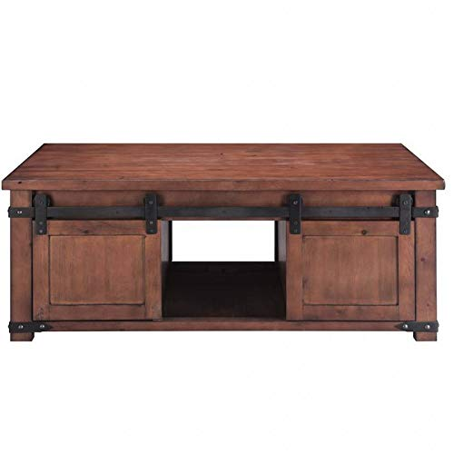 Rabbfay Solid Wood Idustrial Coffee Table, with Storage Shelf and Cabinets Sliding Doors, for Living Room Bedroom,A