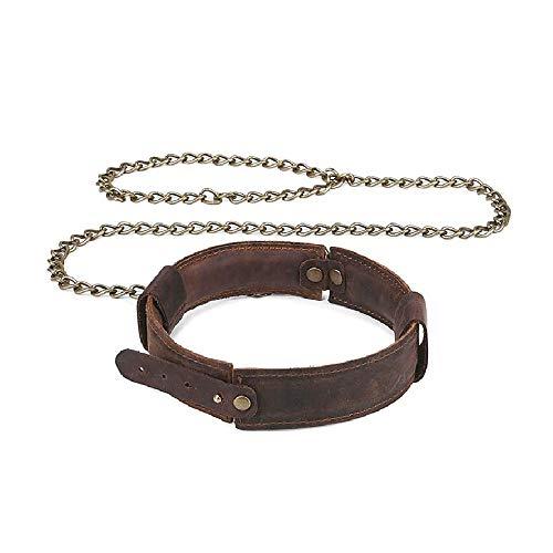 ZWFUN O-Ring Vintage - Einstellbar Damen Halsband SM mit Leine - Choker Halskette für Privater Porno und Flirtenpaare