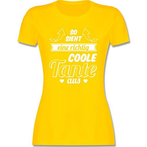 Schwester & Tante - So Sieht eine richtig Coole Tante aus - M - Gelb - lustige Geschenke zum 40 Frau - L191 - Tailliertes Tshirt für Damen und Frauen T-Shirt