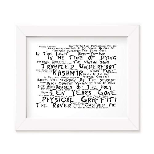 Póster de Led Zeppelin con marco de fotos A4 con texto en inglés Graffiti Jimmy, tamaño A3, letras de canciones