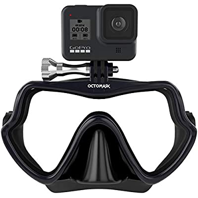OCTOMASK - Frameless Dive Mask w/Mount for All GoPro Hero Cameras for Scuba Diving, Snorkeling, Freediving (Black)