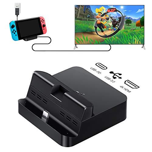 GuliKit Pocket TV Dock für Nintendo Switch, Unterstützt PD-Protokoll, 1080P / 2K / 4K-Projektion, Unterstützt Smartphones oder Tablets, Ladedock mit Kühlsteckdose (Schwarz)