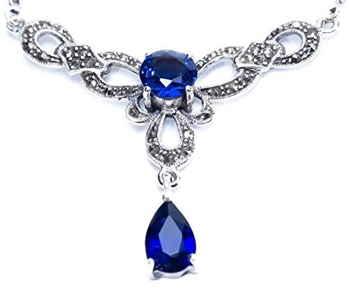 Windalf Mittelalter Collier Marlin 47 cm Gothik Halsschmuck Blauer Kristall Vintage 925 Sterlingsilber