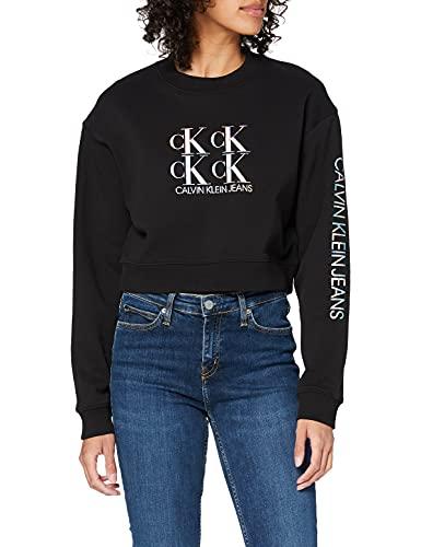 Calvin Klein Jeans Shine Logo Crew Neck Maglione, CK Nero, XS Donna
