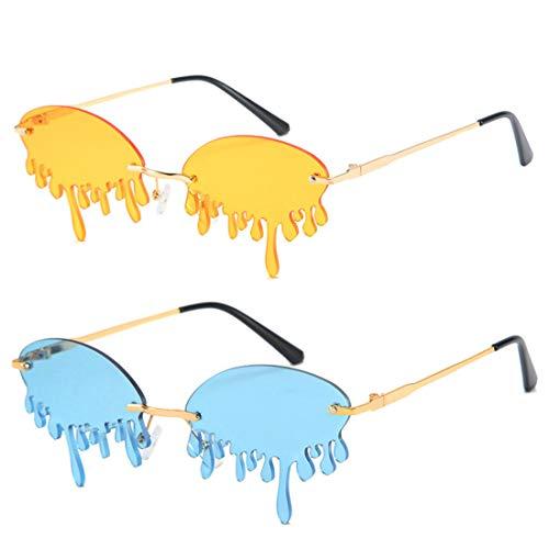 HFSKJ Paquete de 2 Gafas de Sol, Gafas de Sol con Forma de lágrima, Gafas Personalizadas de vanguardia, Gafas de Sol de Moda para Mujer INS Street Fashion,B