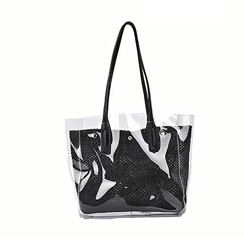 Conjunto de 2 piezas de moda Bolso transparente de gelatina para mujer Simplicidad Bolso de gran capacidad Verano Nuevo Bolso de hombro de viaje de playa bohemio 31x30x12cm-3