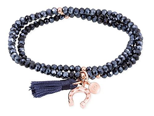 MARINA GARCIA Bracciale Zen in argento sterling con bagno in oro 18 kt blu e ferro
