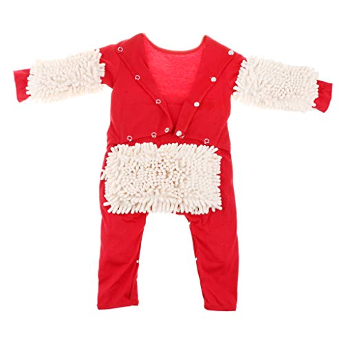 perfeclan Baby Wischmop Strampler Reinigungsmop Overall Jumpsuit zum Krabbeln Kleinkind Bekleidung Kinderkleidung - Rot + Beige, 73 cm