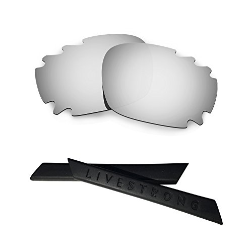 HKUCO Silver Polarized Replacement Lenses Plus Black Earsocks Rubber Kit For Oakley Racing Jacket Vented