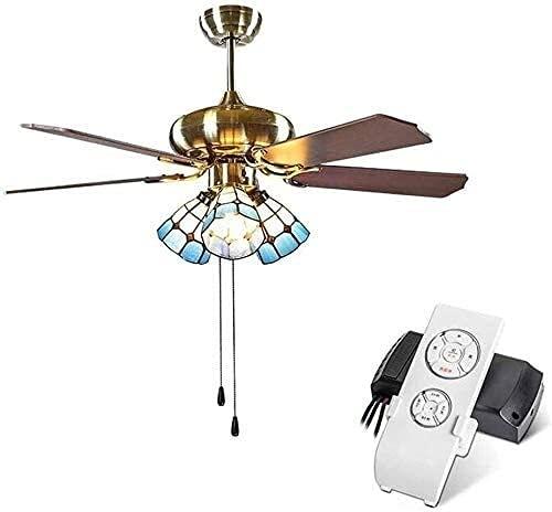 Ventilador de techo de estilo vintage con luces y control remoto, lámpara de candelabro del ventilador de sombra de manchas, E27, 40W, luz de techo de cadena para sala de estar / dormitorio, 42 pulgad