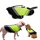 Rantow Dog Life Jacket with Superior Buoyancy & Rescue Handle - High Visibility Float Coat Dog Lifesaver Vest in Beach Pool Boating Safety Swimsuit Preserver (M, Green)