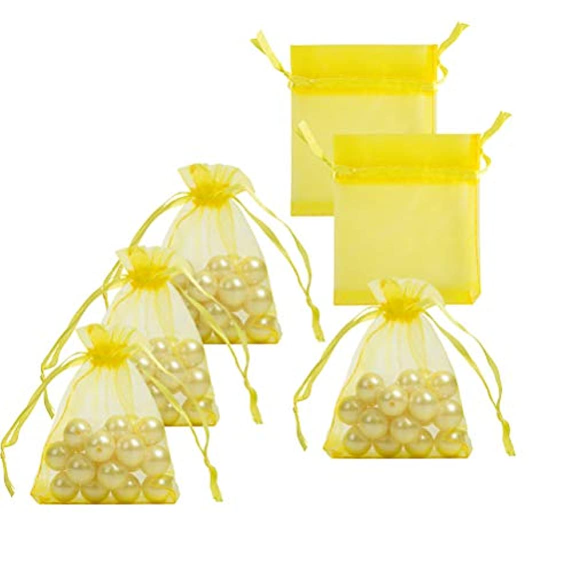 Small Organza Bags with Drawstrings 2.7x3.5 inch, Yellow, Pack of 100