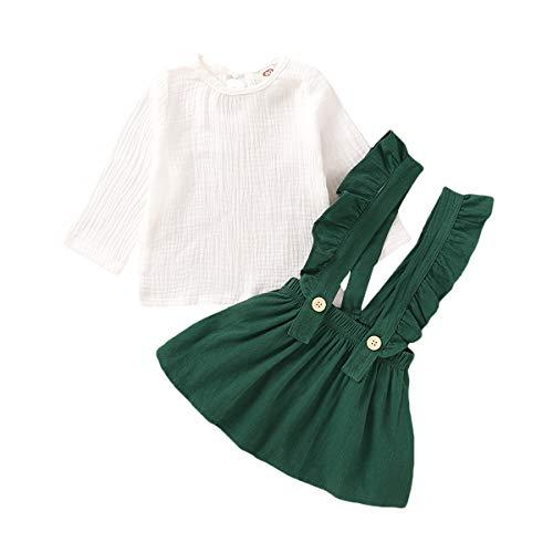 Baby Girl 12-18 Months Clothes Suspender Skirt Toddler Girl Plain T Shirts Green Overall Skirt Set Linen Cotton Outfits