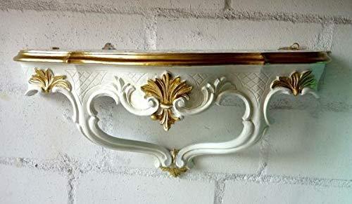 Artissimo Barokowa konsola ścienna/konsola z lustrem, regał ścienny 45 x 21 antyczny, biały, złoty