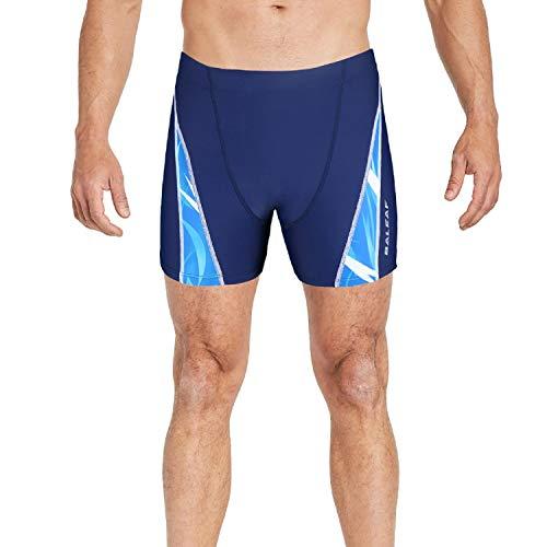 BALEAF Men's Athletic Quick Dry Compression Square Leg Boxer Shorts Jammer Swimsuit Navy M