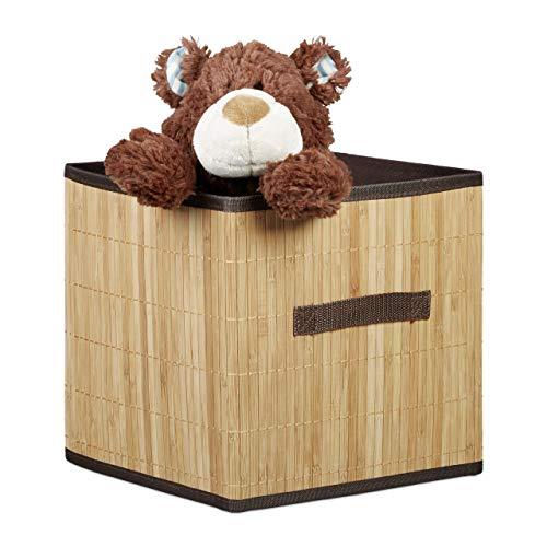 Relaxdays opvouwbare opbergdoos bamboe-look vierkant met handvat, natuurlijk bruin, 28,5 x 28,5 x 28,5 cm