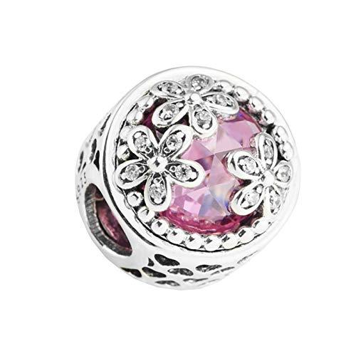 Diy 925 Pandora Lyxigt Sterling Silver Hänge Ihåligt Hjärta Tre Ägare Pärlor Hetrosa Original Passform Charm Armband Smycken