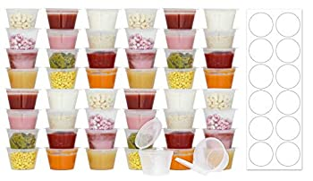 50 Pack BPA-Free Disposable Baby Food Freezer Storage Containers Hinged Lids  3 oz  Labels | Leak-Proof | Travel Snack Cups | Store Homemade Organic Purees | Freezer Dishwasher Safe