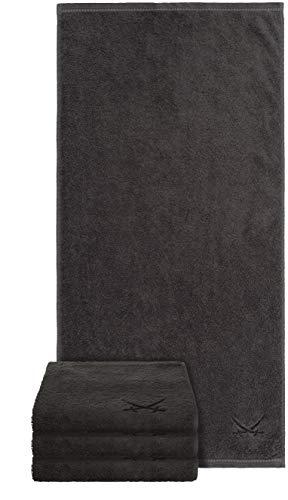 Sansibar Handtuch 4er Set 50x100 cm 100% Baumwolle mit gesticktem Säbel Logo Badtuch Anthrazit