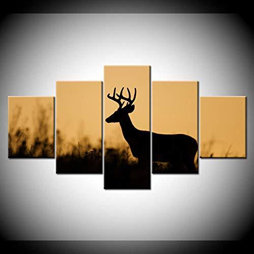 SESHA Cuadro En Lienzo Nórdico Hermoso Ciervo del Bosque 5 Piezas Fondos De Pantalla Arte Lienzo Impresión Cartel Moderno Pintura De Arte Modular Decoración del Hogar(Enmarcado)