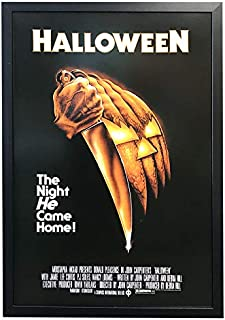 Halloween The Night He Came Home Movie Poster 24x36. Framed on a Black Frame. Made in USA.