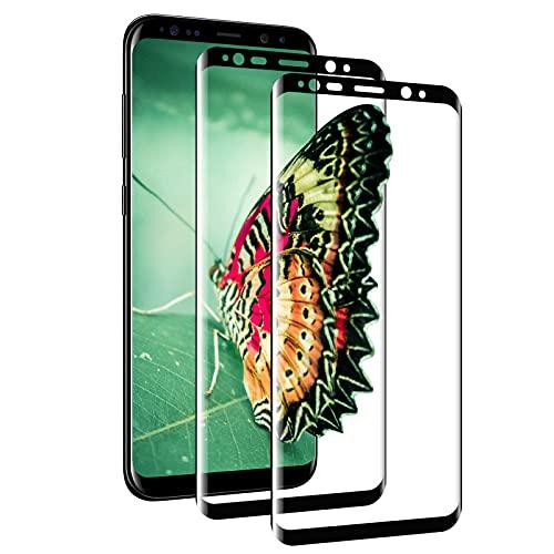 [2 Stück] Panzerglas Schutzfolie für Samsung Galaxy S8, [3D Vollständigen Abdeckung] Panzerfolie, 9H Härte, Anti-Bläschen, HD Clear, Schutzfolie Panzerglasfolie für Samsung S8 - Schwarz