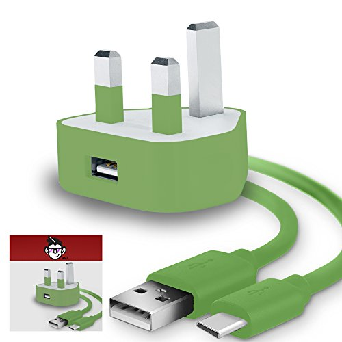 IWIO 3 Pin UK USB Mains Charger Adapter 1000 mAh / 1 AMP with USB 2.0 USB C/Type C Sync and Charge Cable 1 Meter for Acer Liquid Jade Primo - GREEN