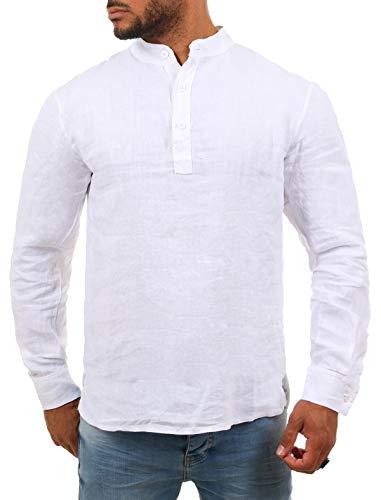 Young & Rich Herren Leinen Langarm Shirt mit Knopfleiste Henley Tunika Hemd Regular fit 100{a0d53fcdc89411ec6f2b7c5bb2f93581ee76eab82466bd77b13bd533f5a15e72} Leinen T3168, Grösse:L, Farbe:Weiß