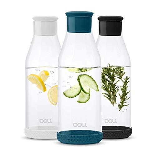 Doli Bottles Premium Glaskaraffe mit Deckel 1,5 L | Wasserkaraffe mit Silikondeckel und Silikonfuß | eleganter Wasserkrug | aromadicht verschließbar | für Wasser, Eistee, Milch, Saftschorlen (Teal)